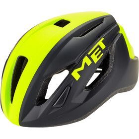 MET Strale Kask rowerowy, black/safety yellow panel